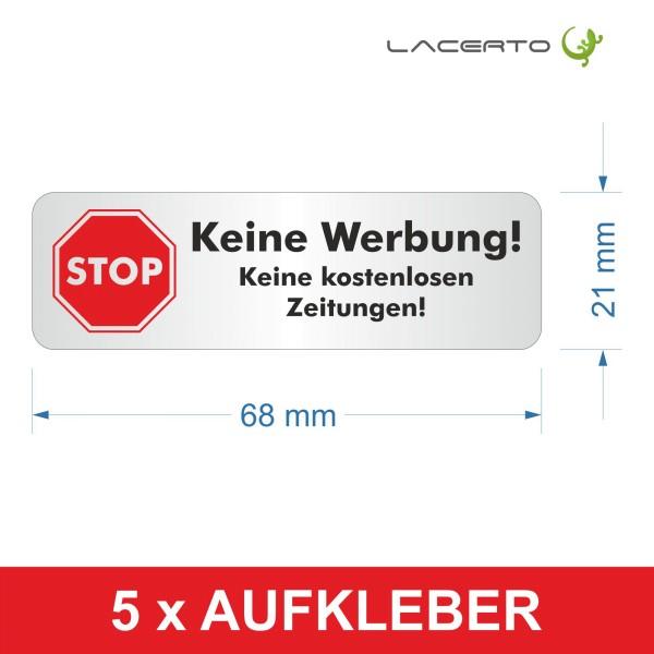 """5er-Set, Briefkastenaufkleber """"Stop, bitte keine Werbung"""" 68 x 21 mm"""