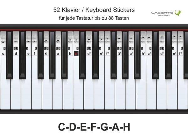 Klavier Aufkleber, C-D-E-F-G-A-H, 52 Stickers