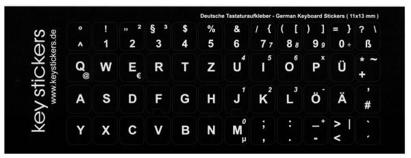 Deutsche Tastaturaufkleber für PC oder Laptop (11x13mm), schwarz, matt, QWERTZ