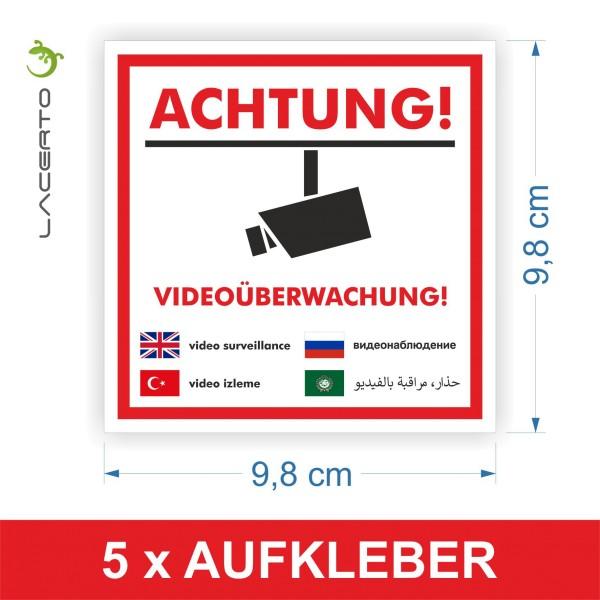 "5er Set, Warnaufkleber ""Videoüberwachung"" 98 x 98 mm"