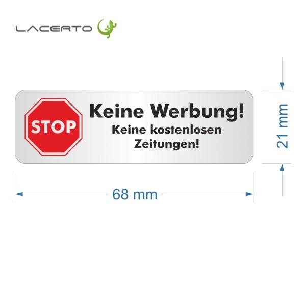 """Briefkastenaufkleber """"Stop, bitte keine Werbung"""" 68 x 21 mm"""