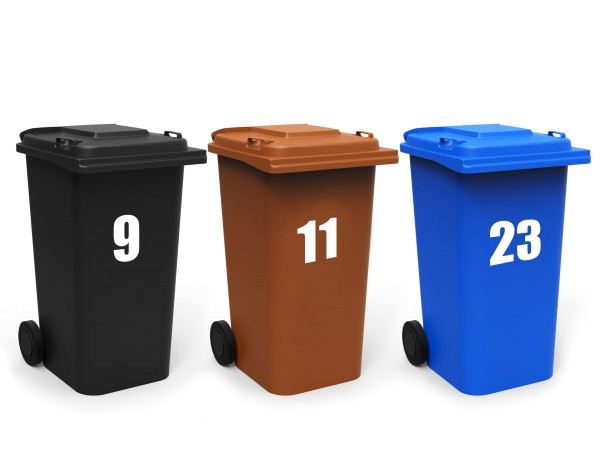 Mülltonnen Aufkleber 3er Set, Zahlen 0-9, versch. Farben